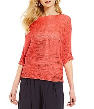 M Made in Italy Lightweight Batwing Sleeve Knit Sweater