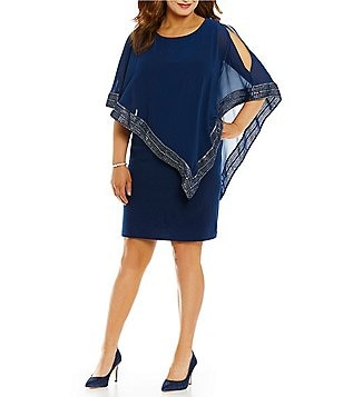 S.L. Fashions Plus Foil-Trim Popover Short Sleeve Asymmetrical Hem Dress