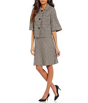 John Meyer Tweed Cropped 2-Piece Skirt Suit