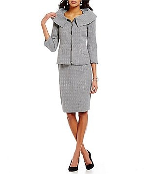 John Meyer Tweed Foldover-Collar 2-Piece Skirt Suit