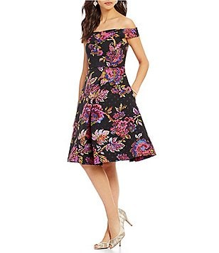 Adrianna Papell Off-the-Shoulder Brocade Midi Fit-and-Flare Jacquard Dress