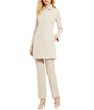John Meyer Point Collar Button Front Geo Jacquard 2-Piece Pant Suit