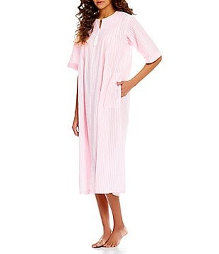 Miss Elaine Petite Striped Seersucker Zip Robe