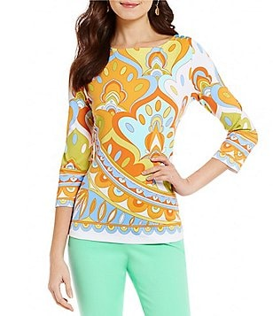 J.McLaughlin Boat Neck 3/4 Sleeve Printed Wavesong Tee