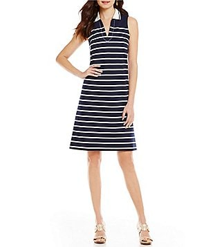J.McLaughlin Tory Split V-Neck Shirt Collar Sleeveless Striped A-Line Dress