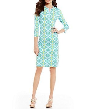 J.McLaughlin Lynn Henley 3/4 Sleeve Printed Dress