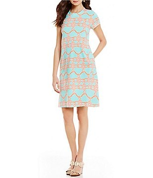 J.McLaughlin Crew Neck Cap Sleeve Printed Swing Dress