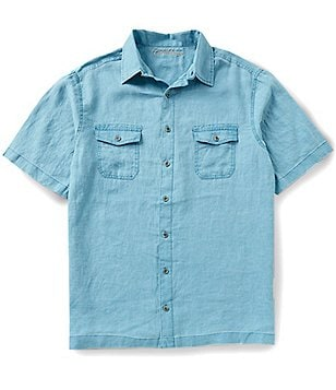 Caribbean Big & Tall Short-Sleeve Two Pocket Solid Pigment Print Linen Shirt