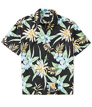 Caribbean Big & Tall Short-Sleeve Linen Hibiscus Print Camp Shirt