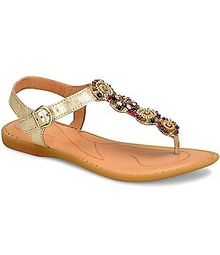 Born Acapilco Metallic Leather Beaded T-Starp Thong Sandals