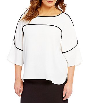 Calvin Klein Plus Flutter Sleeve Contrast Piping Blouse