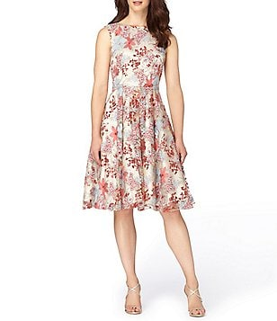 Tahari ASL Petite Floral Embroidered Fit-and-Flare Dress