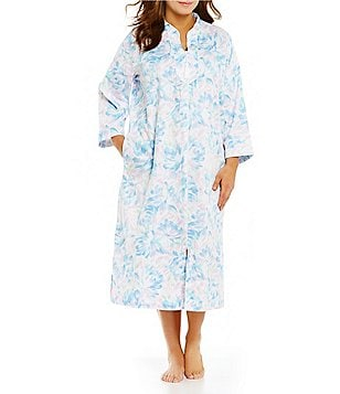 Miss Elaine Plus Floral Sateen Zip Robe