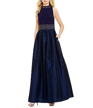 Jessica Howard Sleeveless Beaded-Collar Taffeta Ballgown
