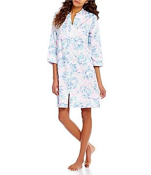 Miss Elaine Petite Watercolor Floral Sateen Zip Robe