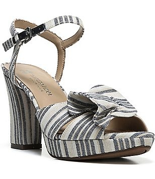 Naturalizer Adelle Stripe Denim Fabric Pleated Block Heel Sandals