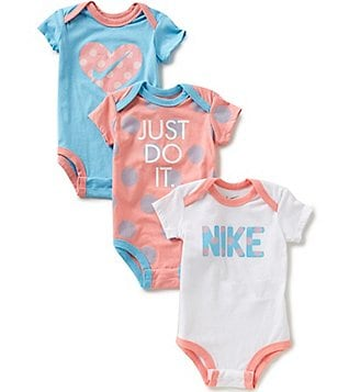 Nike Baby Girls Newborn-12 Months Dotted Bodysuit Three-Pack