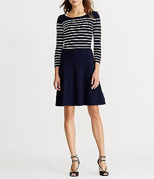 Lauren Ralph Lauren Stripe Fit-and-Flare Sweater Dress