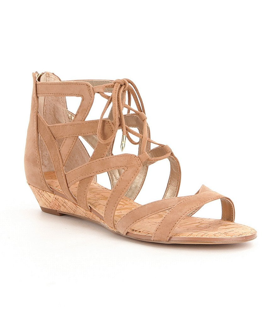 Sam Edelman Dawson Ghillie Lace Up Zip Back Closure Wedge Sandals
