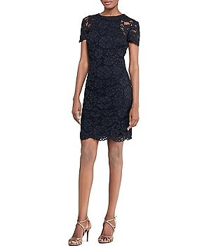 Lauren Ralph Lauren Lace Sheath Short Sleeve Dress