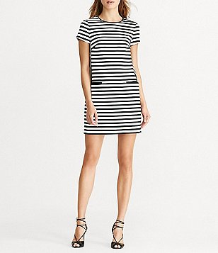 Lauren Ralph Lauren Faux-Leather Trim Stripe Shift Dress