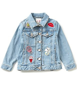 GB Girls Little Girls 4-6X Patched Denim Jacket