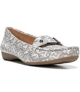 Naturalizer Gisella Snake Print Buckle & Strap Detail Slip-On Moccasins
