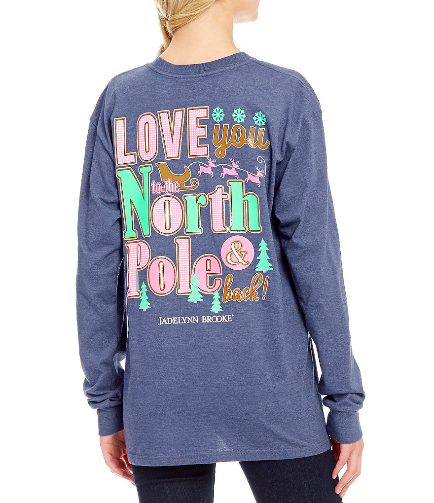 Jadelynn Brooke Long-Sleeve Christmas Love You To North Pole and Back Graphic Tee
