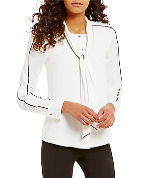 Calvin Klein Contrast Pipe Trim Tie-Neck Long Sleeve Crepe Blouse
