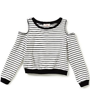 GB Girls Big Girls 7-16 Striped Cold-Shoulder Top