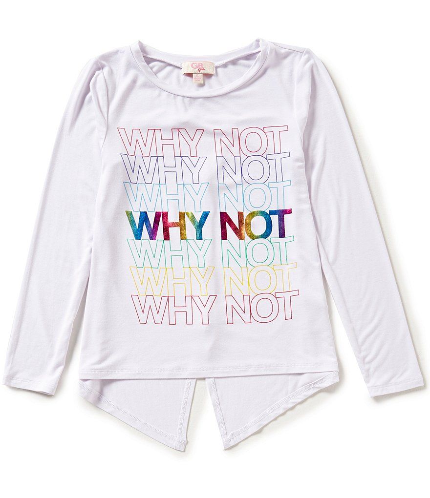 GB Girls Big Girls 7-16 Why Not Graphic Split Back High-Low Tee