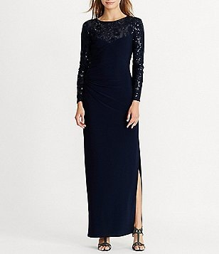 Lauren Ralph Lauren Sequined-Yoke Jersey Gown