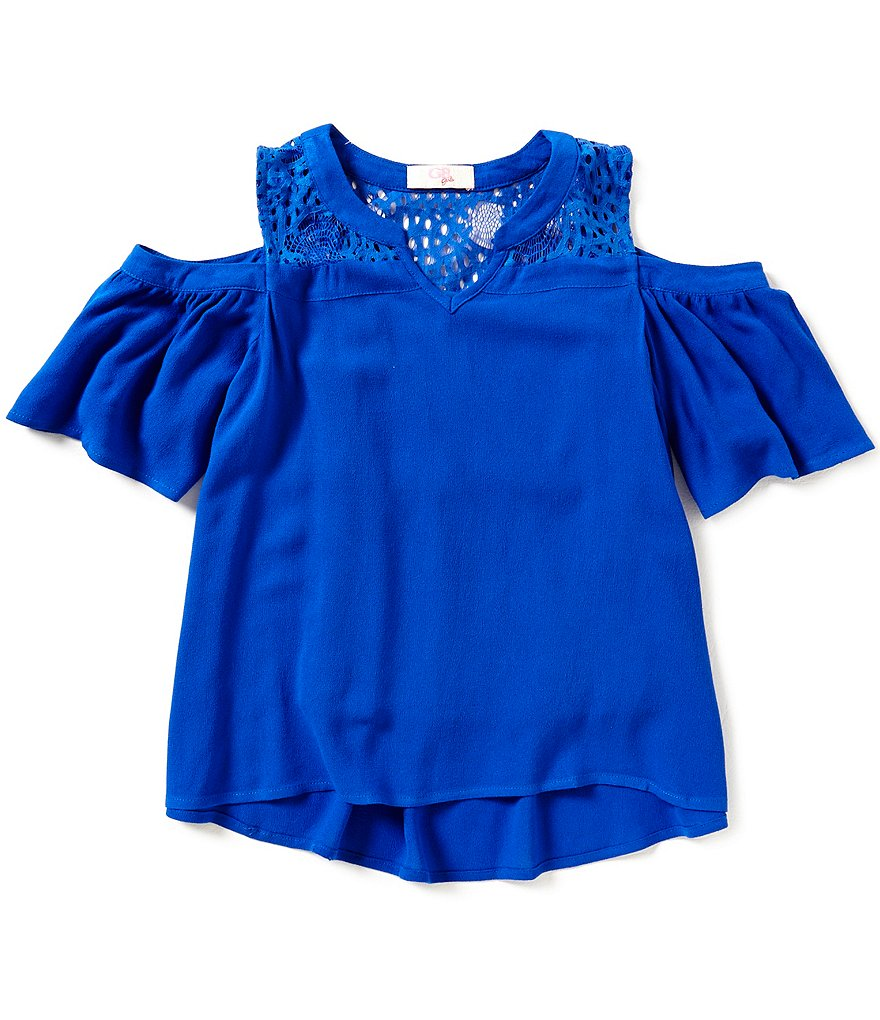 GB Girls Big Girls 7-16 Lace-Inset Cold-Shoulder Top