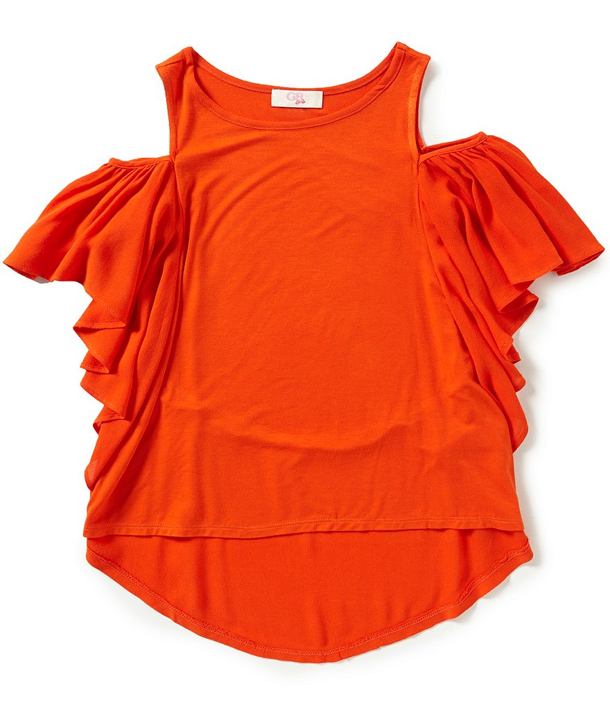 GB Girls Big Girls 7-16 Cold-Shoulder Ruffle Top