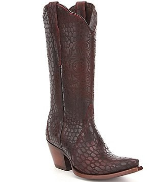 Ariat Catrina Embossed Leather Laser Etched Pull On Snip Toe Tall Boots