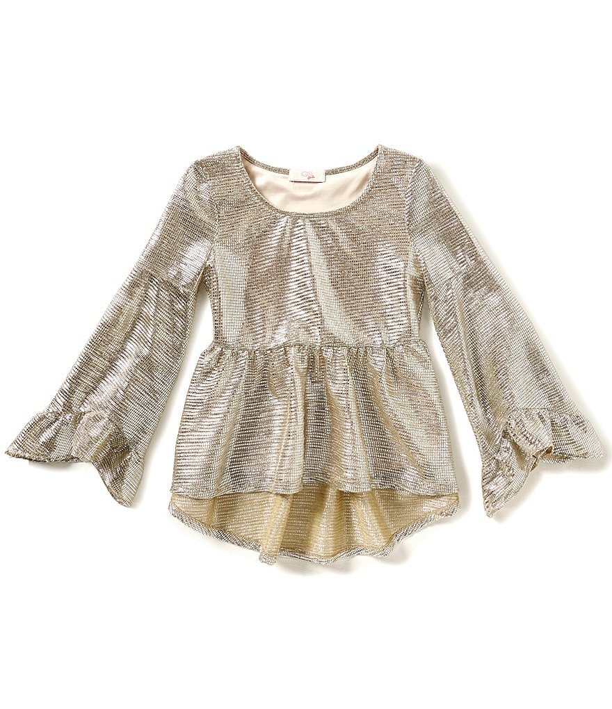 GB Girls Big Girls 7-16 Peplum Bell-Sleeve Ruffle High-Low Metallic Top