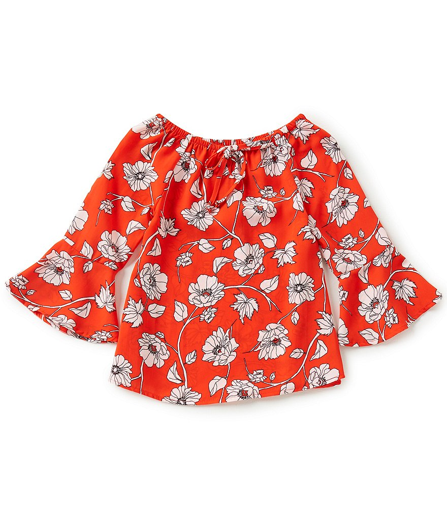 GB Girls Big Girls 7-16 Floral Bell-Sleeve Peasant Top