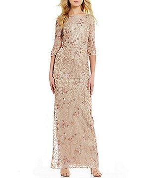Calvin Klein 3/4 Sleeve All Over Sequin Lace Dress