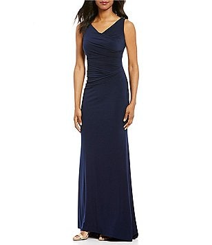 Calvin Klein Ruched Draped Neck Sleeveless Ball Gown