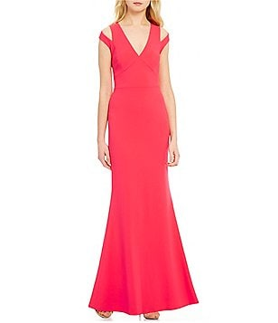 Calvin Klein V-Neck Split Sleeve Long Gown