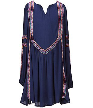 GB Girls Big Girls 7-16 Long-Sleeve Split V-Neck Embroidered Shift Dress