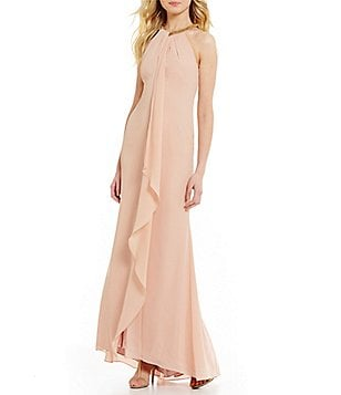 Calvin Klein Beaded Neck Halter Sleeveless Chiffon Gown