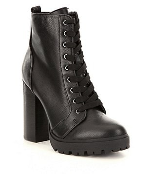 Steve Madden Laurie Leather Lace-Up Block Heel Booties