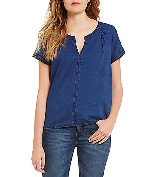 Calvin Klein Jeans Soft Denim Split Neck Short Sleeve Peasant Top