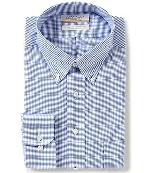 Gold Label Roundtree & Yorke Big & Tall Non-Iron Regular Full-Fit Button-Down Collar Gingham Dress Shirt