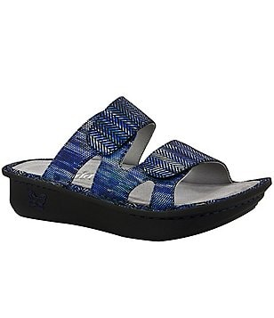 Alegria Camille Textured Leather Double Banded Slide On Sandals