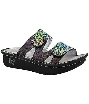 Alegria Camille Leather Double Banded Slide On Sandals