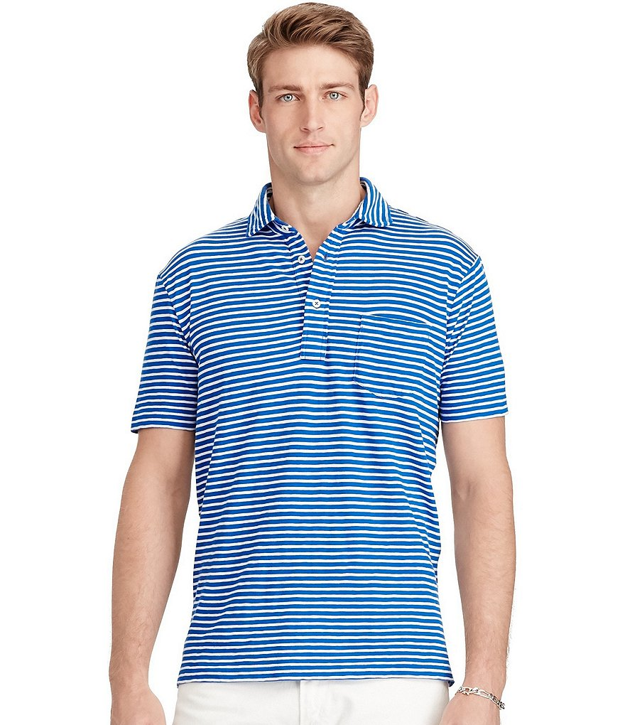 Polo Ralph Lauren Horizontal Striped Jersey Popover Short-Sleeve Polo Shirt