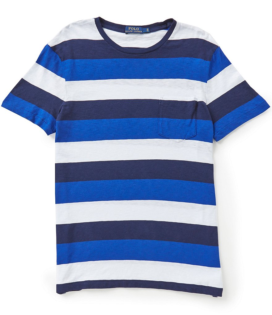 Polo Ralph Lauren Horizontal-Stripe Short-Sleeve Crewneck Pocket Tee
