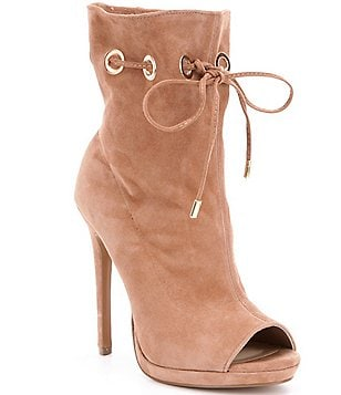 Steve Madden Cavalier Suede Peep Toe Cinching Grommet Detailed Booties